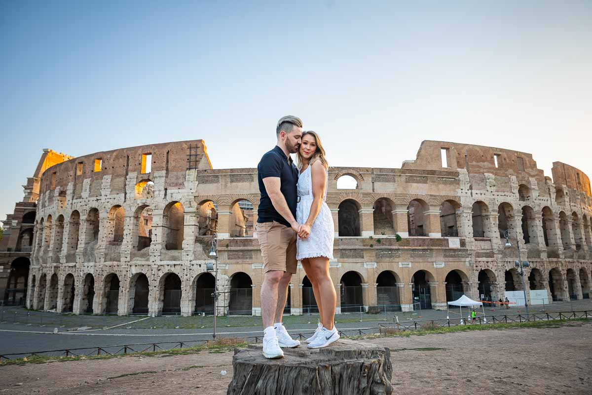 Posed photography just engaged at the roman coliseum