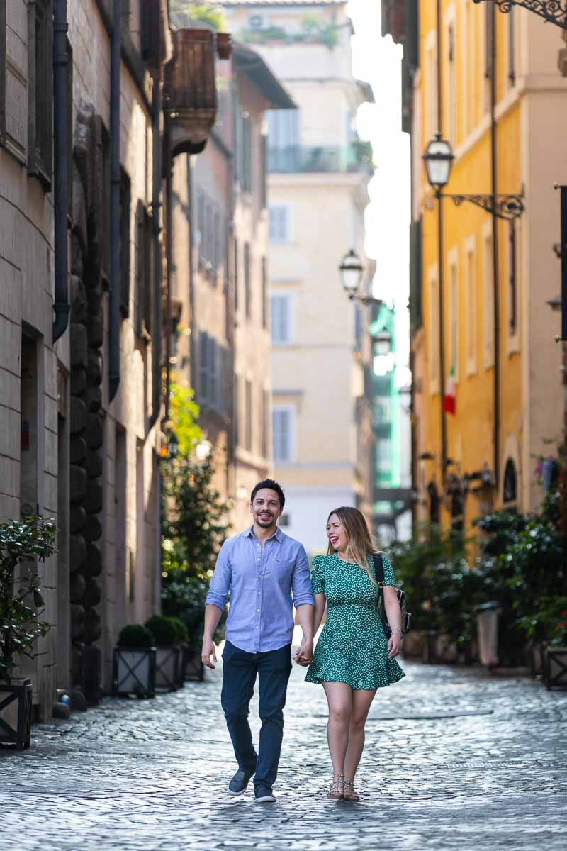 Walking in Rome photoshoot couple session ancient cobblestone alleyways