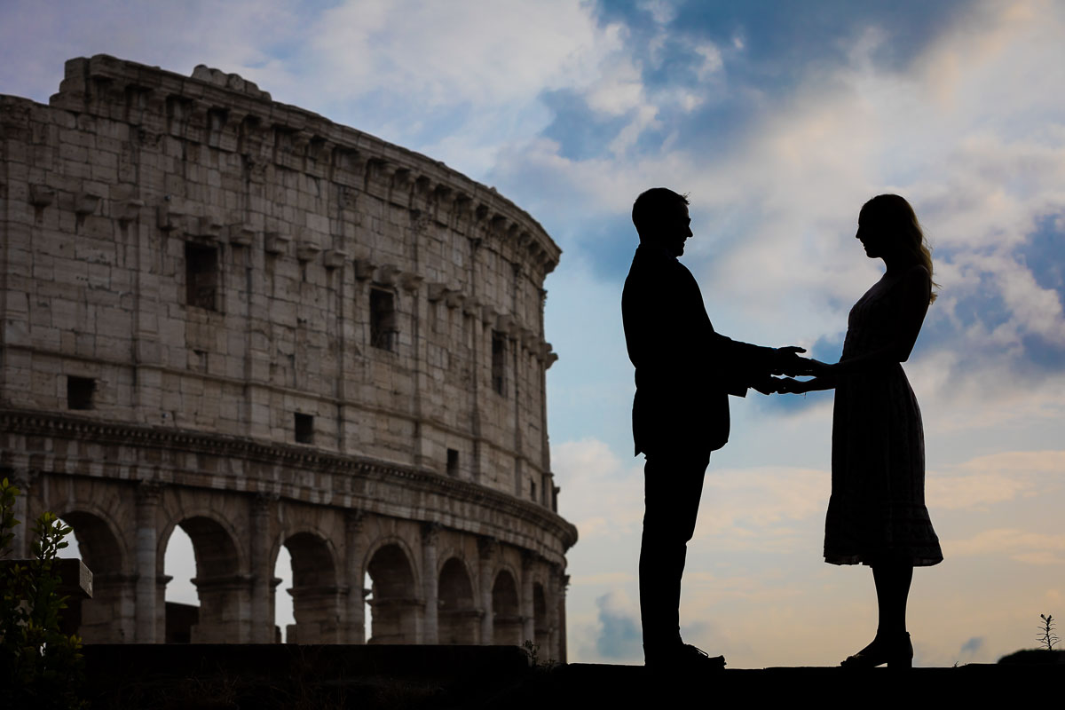 Silhouette engagement photoshoot in Rome Italy. Image taken at the Roman Colosseum