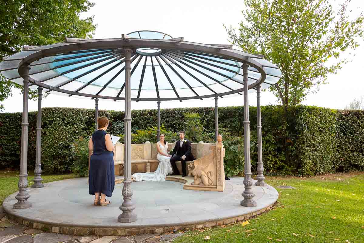 Garden gazebo used for a the wedding ceremony in a Villa in Florence Italy