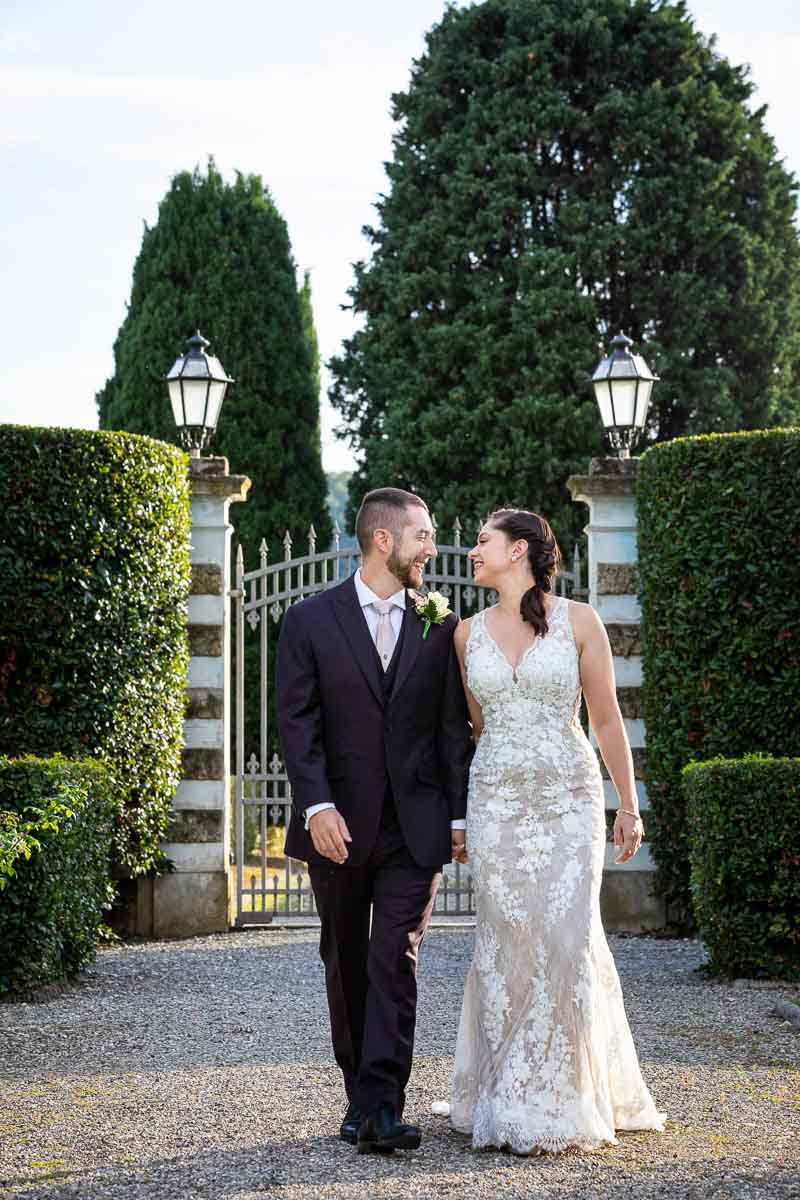 Walking together in a Florentine vintage colonial villa