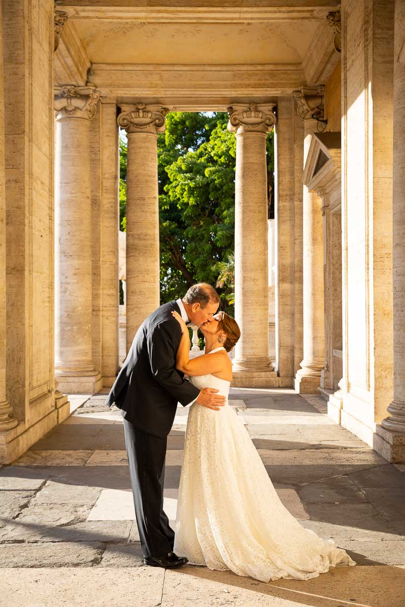 just married in Rome portrait series under roman columns