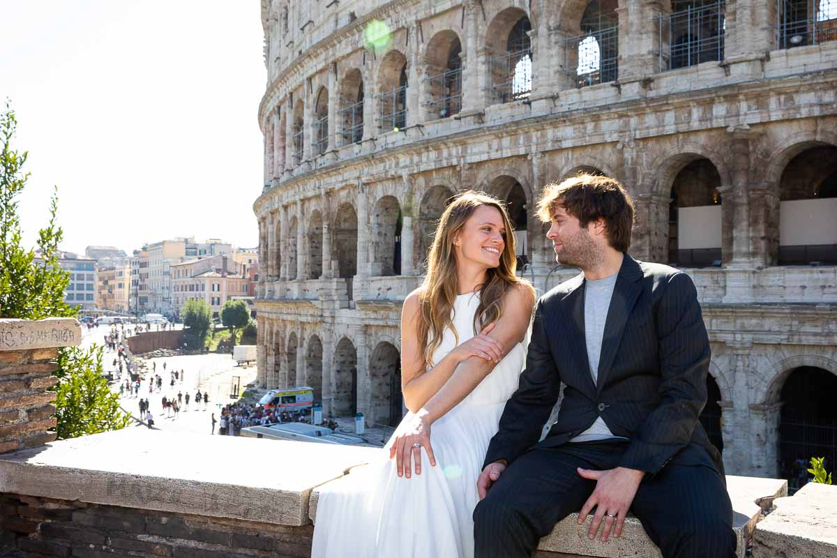 Colosseum photo session with married couple posing for some photographs