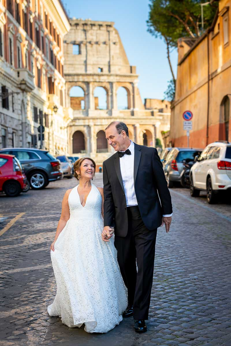 Walking the streets of Rome during a photo shoot