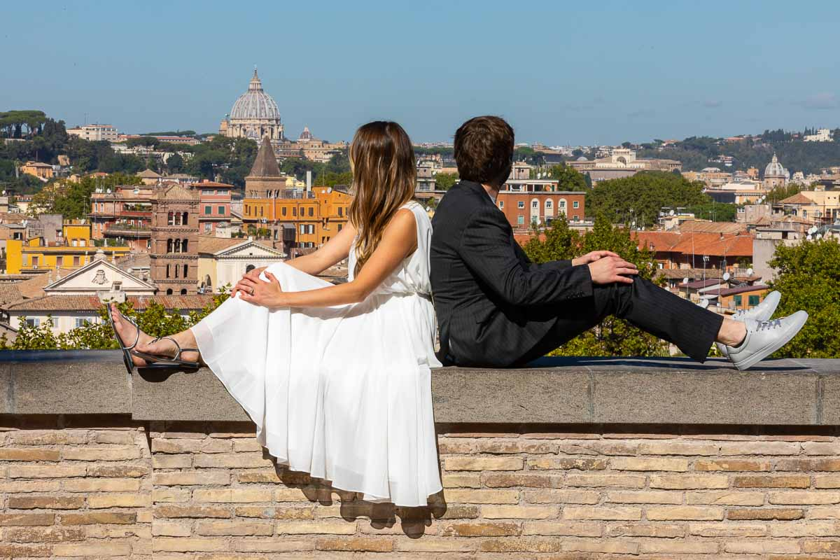 Looking at the city of Rome Italy during a spectacular wedding and photo session the Eternal city
