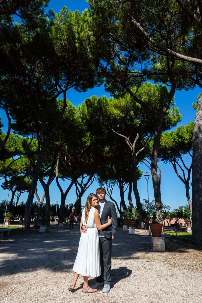 Together in Rome posing underneath Mediterranean pine trees at the Giardino degli Aranci or Orange garden