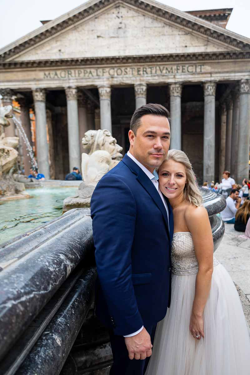 Bride and groom portrait at the Pantheon