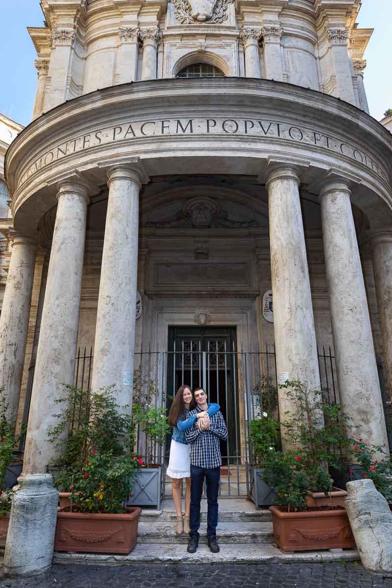 Portrait picture standing underneath Chiostro del Bramante in central Rome