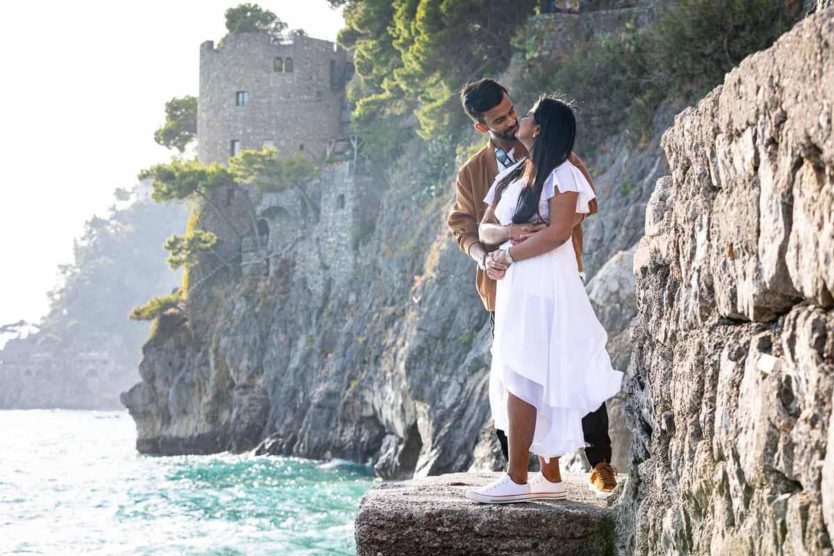 Couple kissing portrait taken by the Amalfi coast
