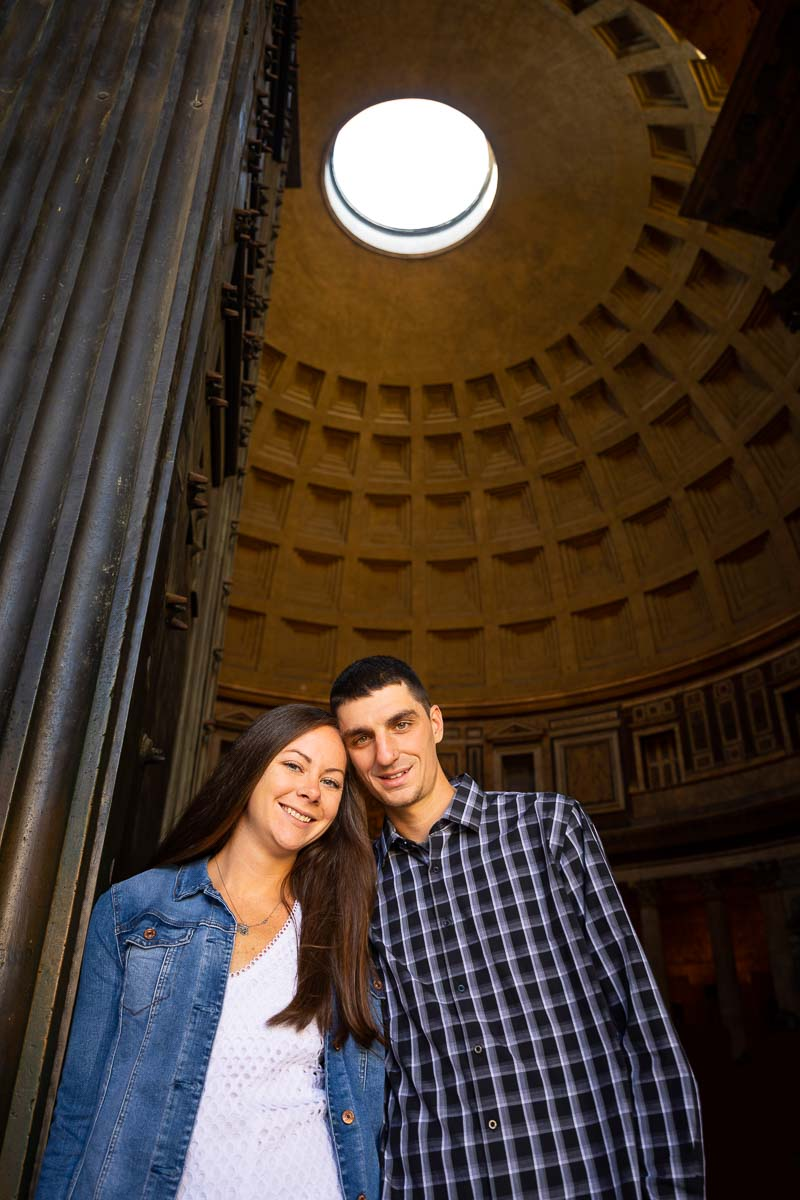 Portrait picture taken under the Roman Pantheon's Oculus hole in the ceiling
