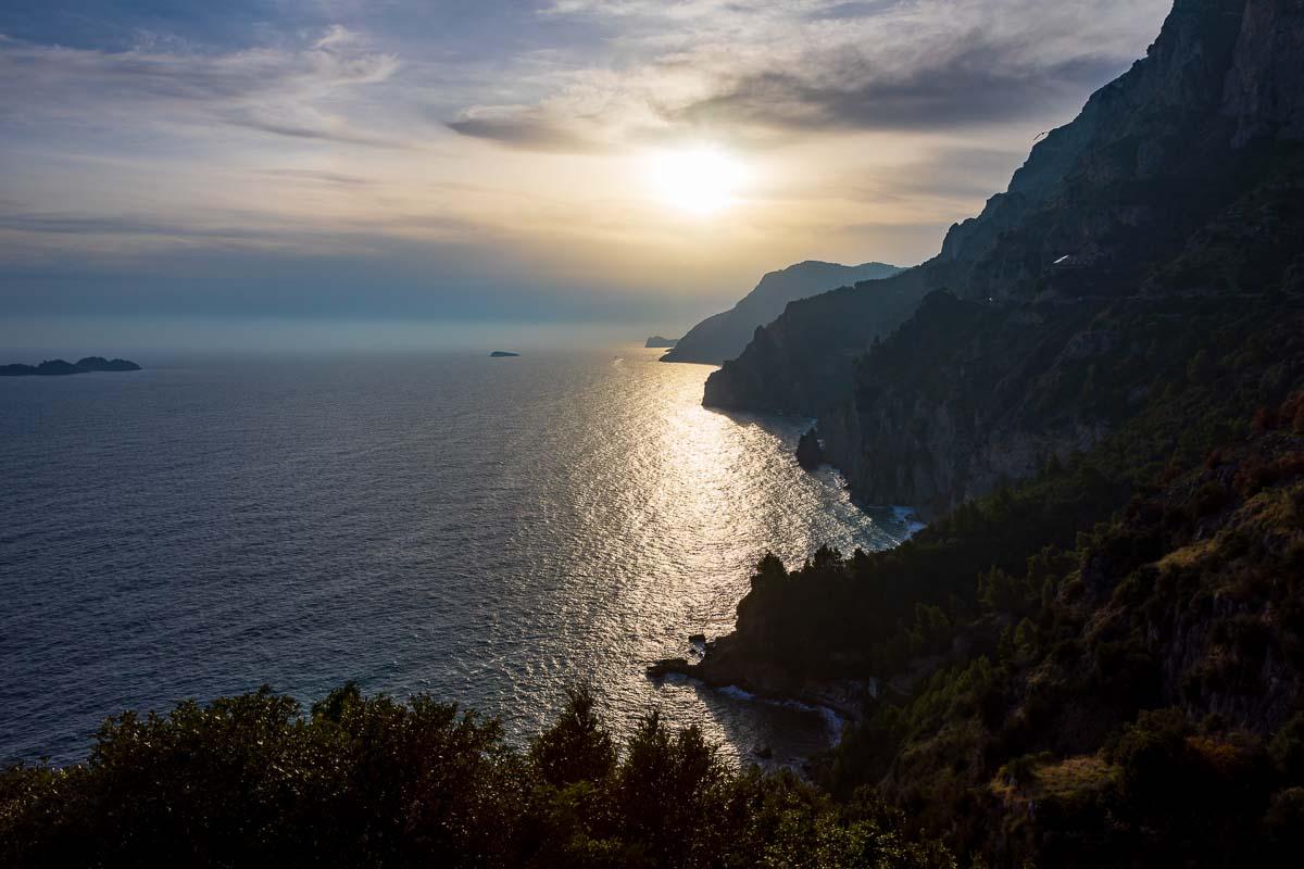 The Amalfi coast seen at sunset