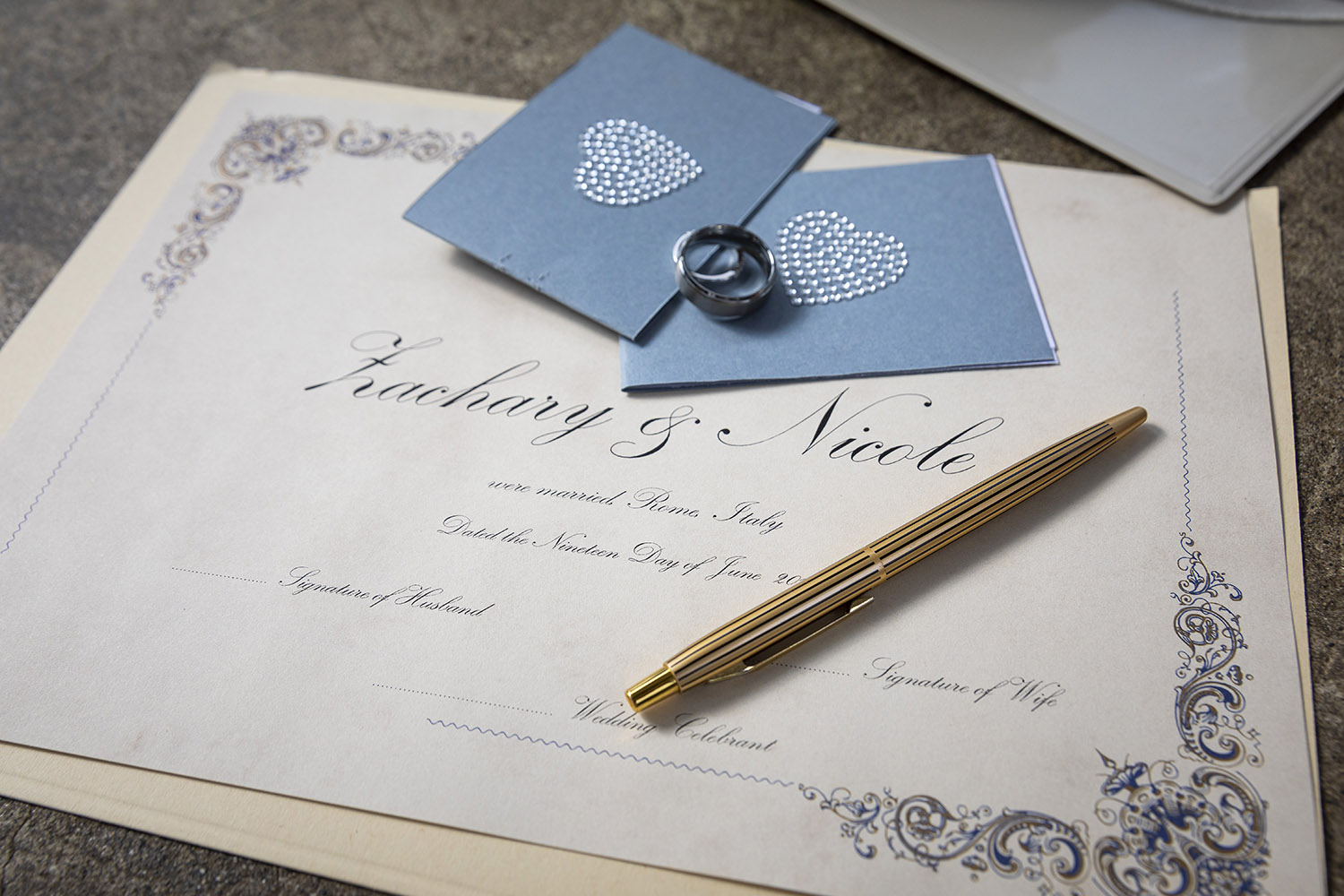 Wedding certificate in parchment paper