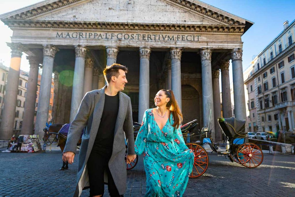 Epic Rome couple photoshoot taken at the Roman Pantheon
