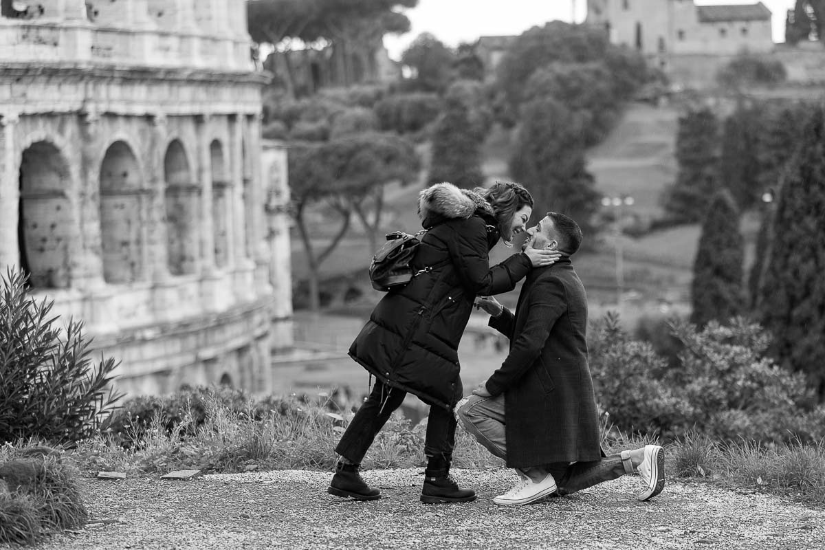 She said yes overlooking the ancient city of Rome from above. b&w picture conversion