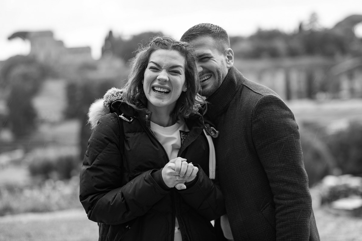 Couple happy portrait smiling in black and white