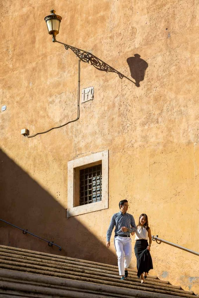 Walking down steps together with different level geometrical compositional elements