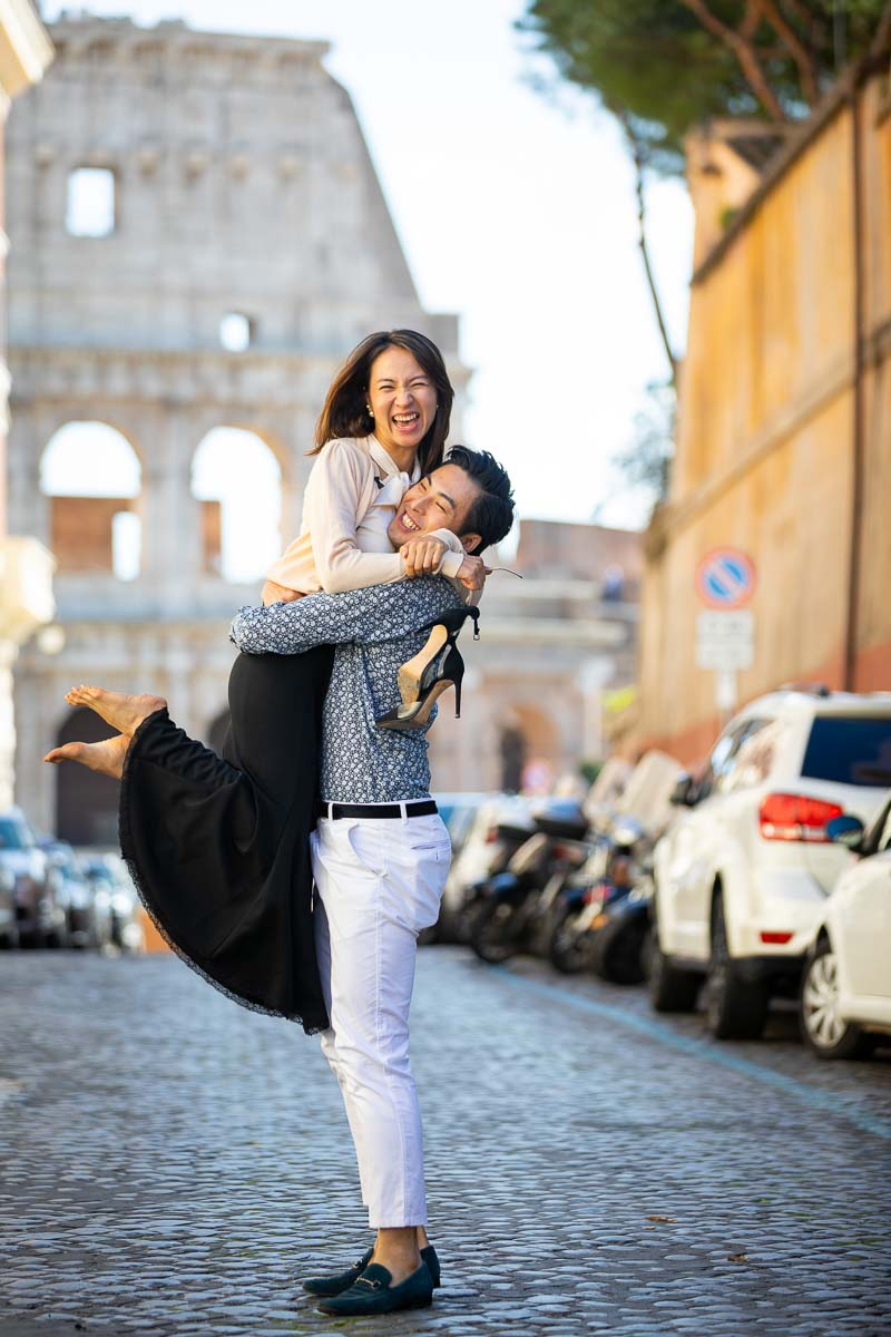 Together in Rome to be engaged by the Coliseum