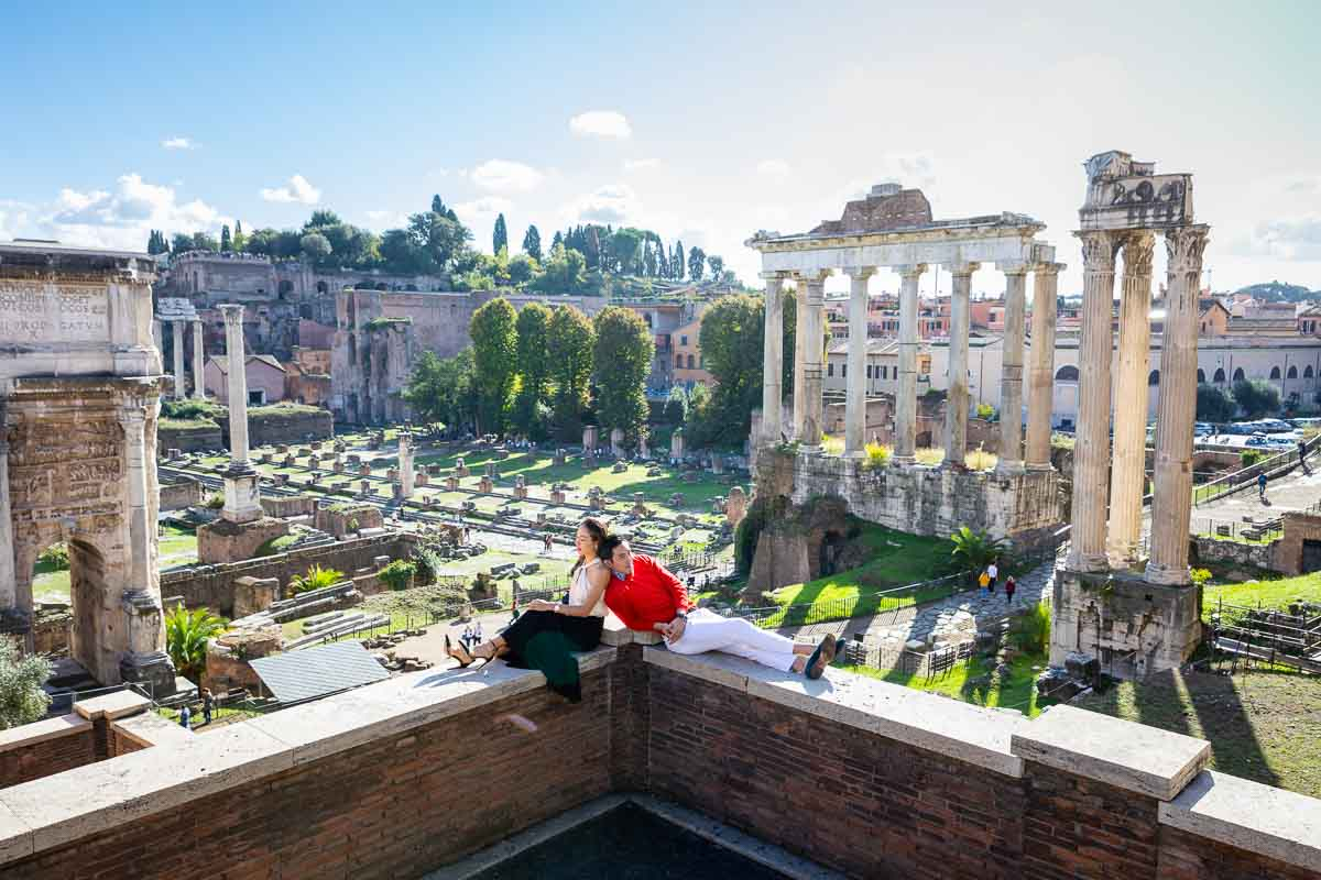 Relaxing at the ancient Forum in Rome Italy