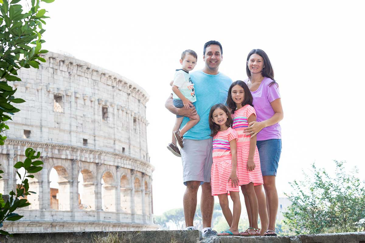 Rome family photography portrait by the Roman Colosseum