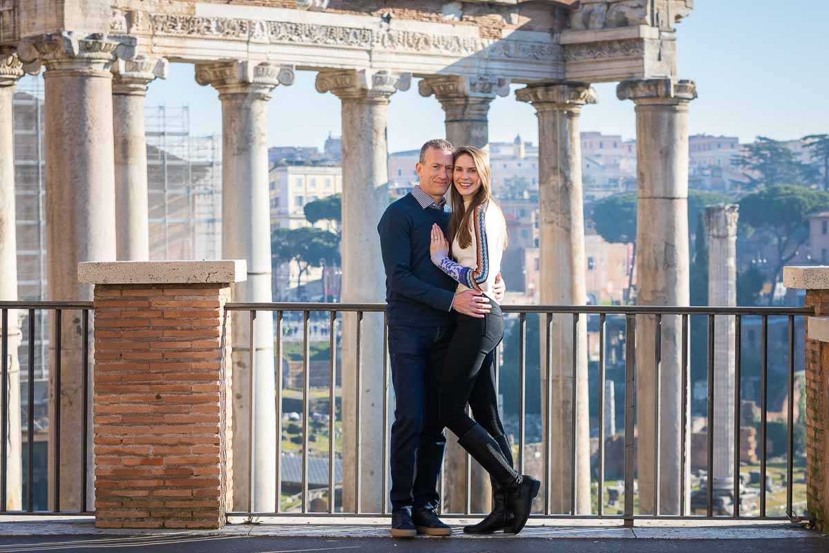 Posed picture during a photography session at the Roman Forum in one of Rome's most iconic location