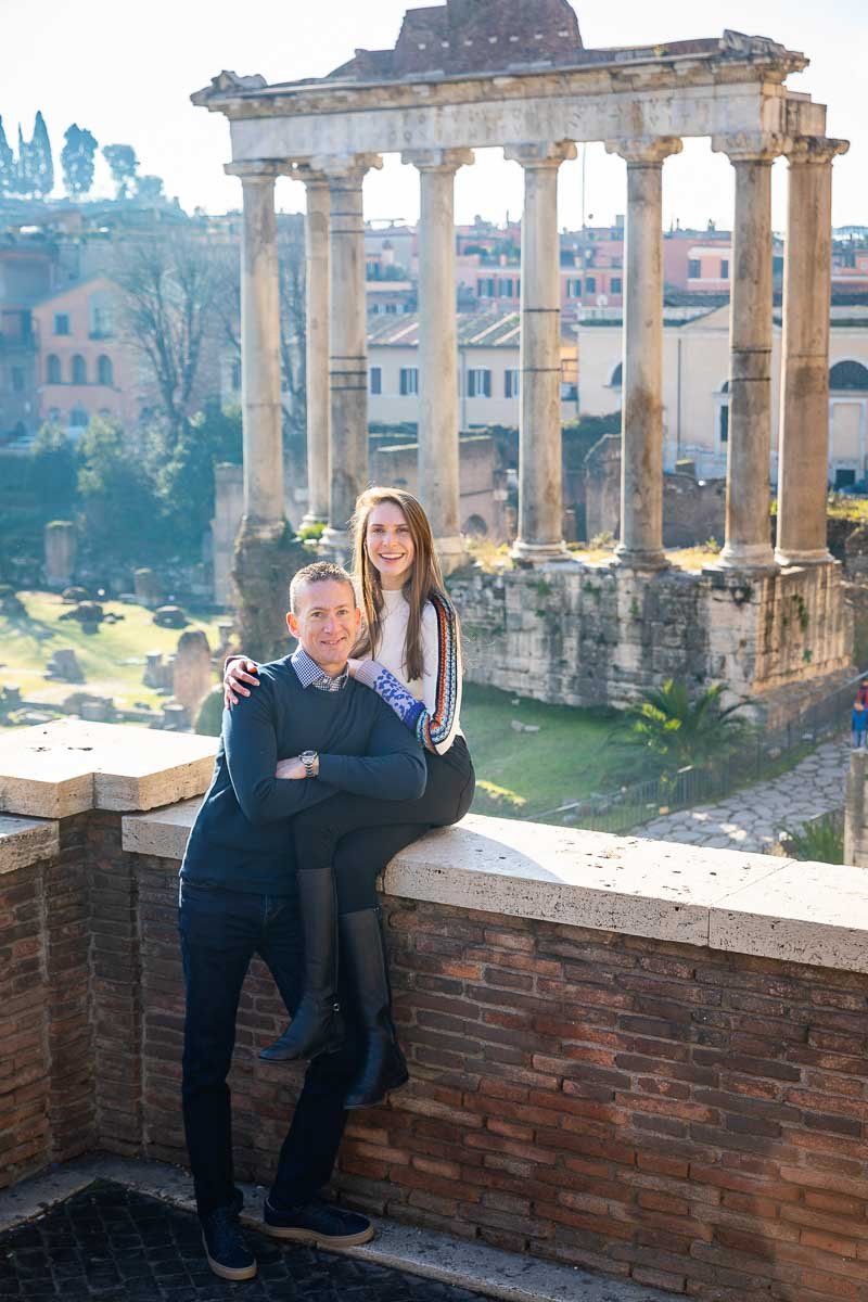 Honeymoon photo session portrait standing in front of ancient roman ruins