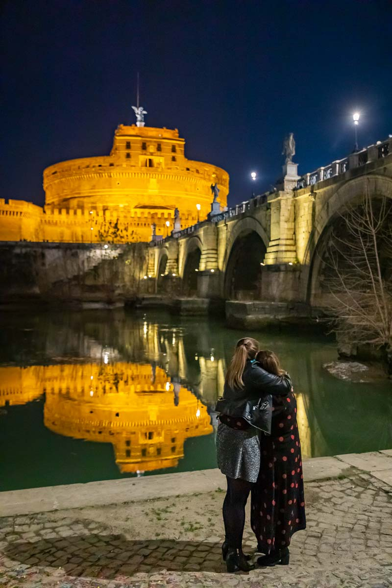Romantic nighttime view of Rome