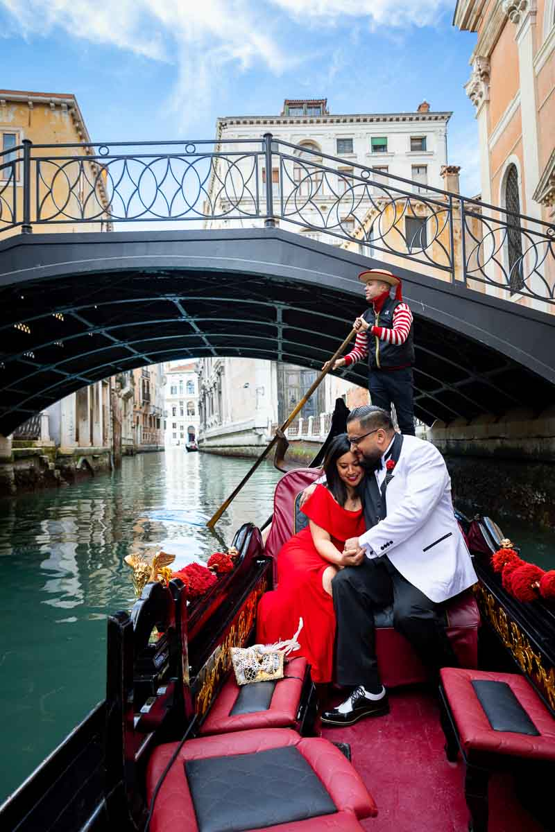 Engaged while navigating the small water canals
