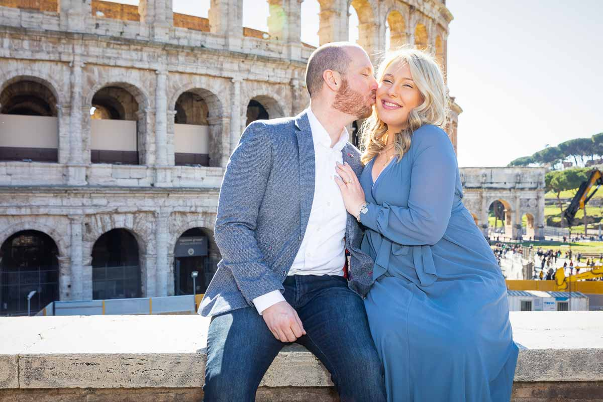 Couple kissing during and engagement photoshoot in Rome