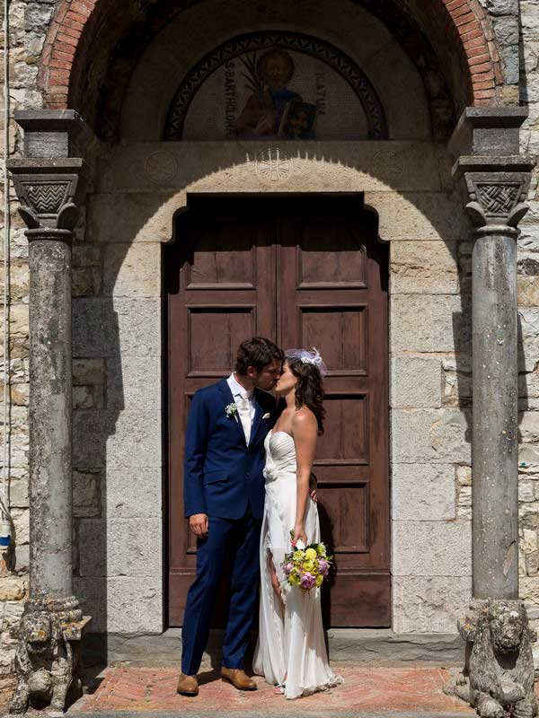 Kissing before the church