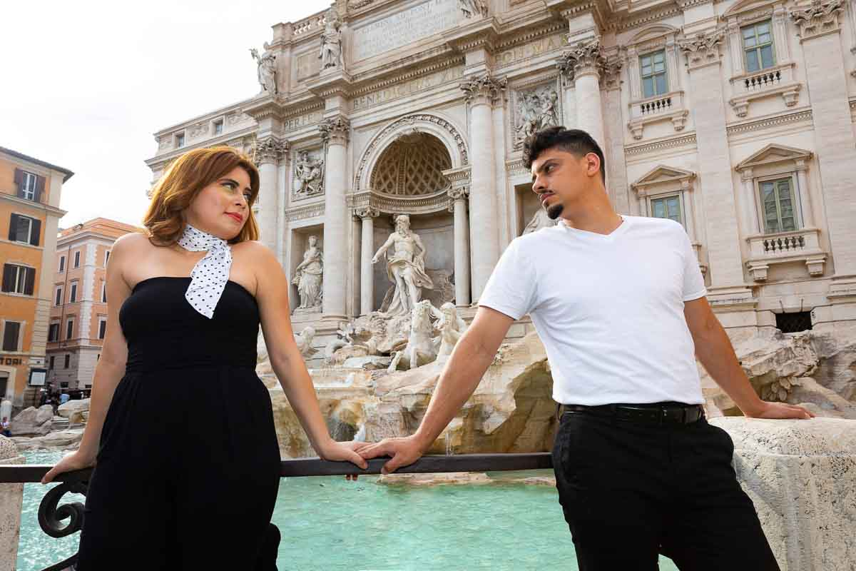 Couple Photo Session in Rome portrait standing by the Fontana di Trevi