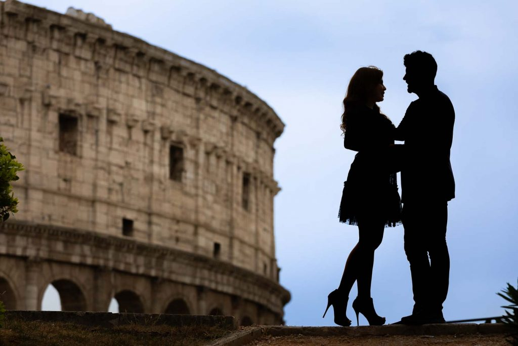 Rome couple photoshoot at the Roman Colosseum in color photography