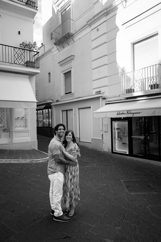 Street photo taken in black and white portrait in the center of capri town Italy