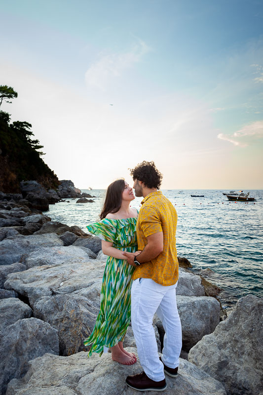 In love in Italy taking engagement pictures together