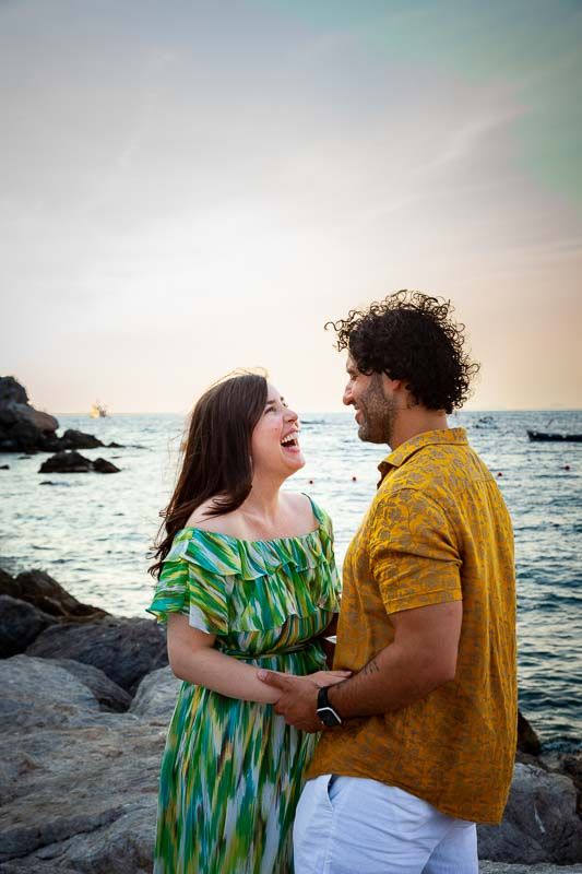 Laughing and smiling during an Italian photo shoot session