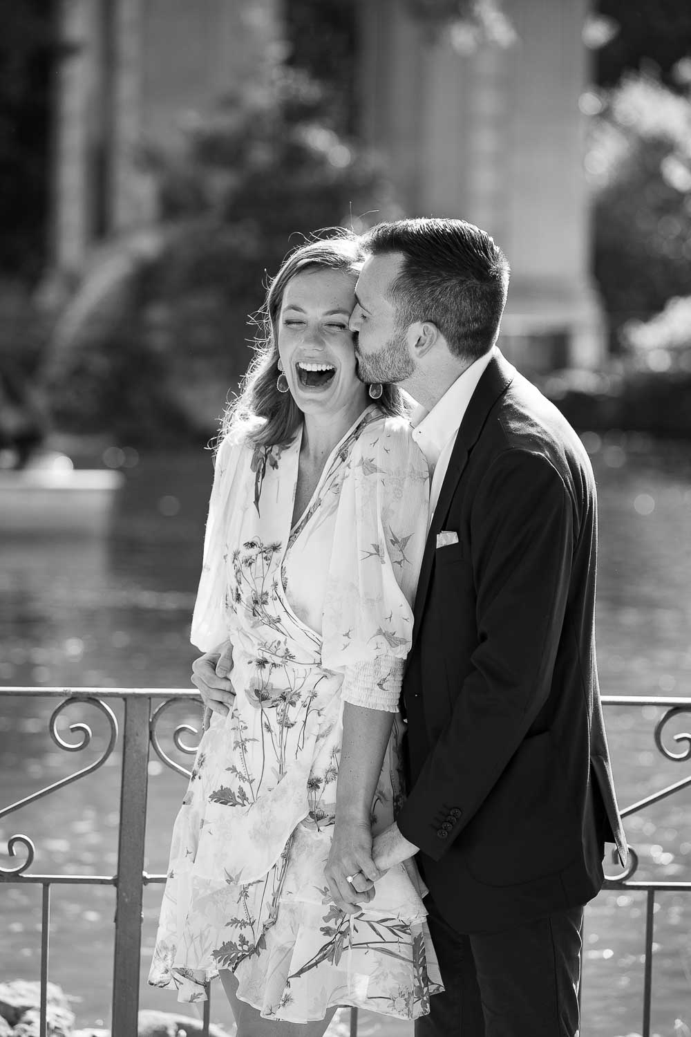 Black and white engagement couple photography