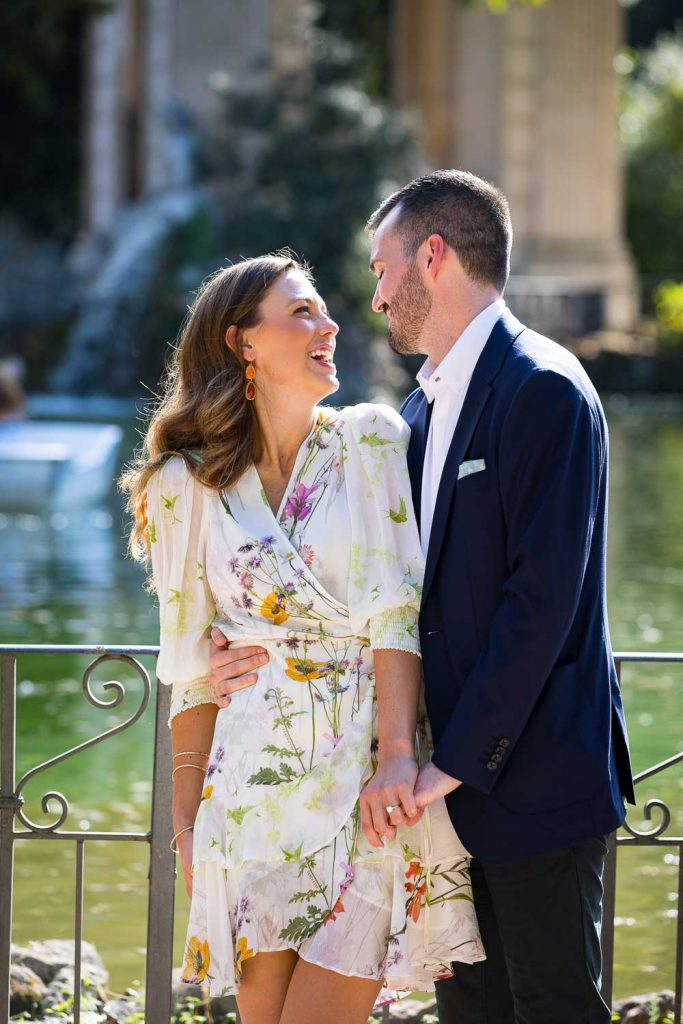 Engaged in Rome during a suprise proposal photography session