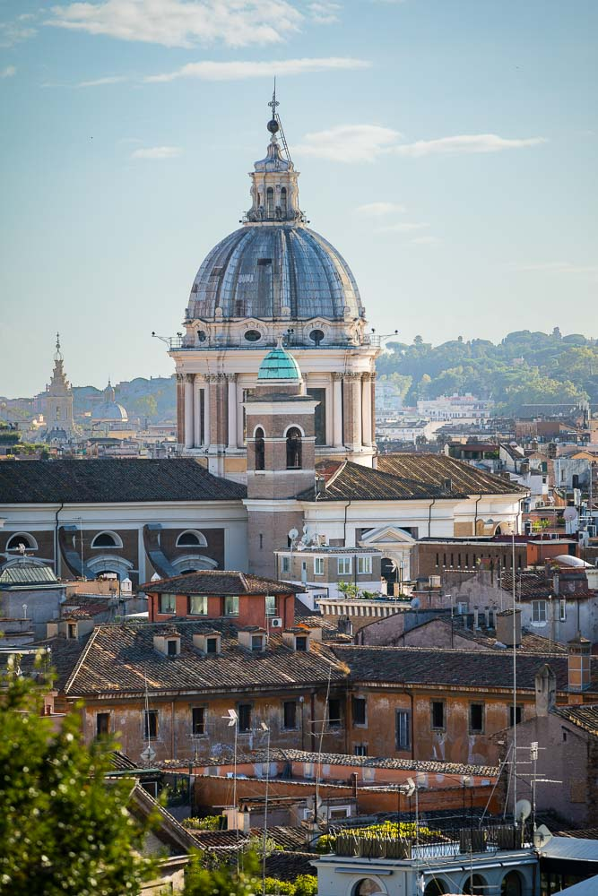 Roman skyline view over the ancient city. Rooftop panoramic view of Rome.